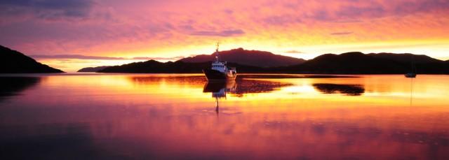 Hbj in Loch Drambuie sunset by Nick Drewitt